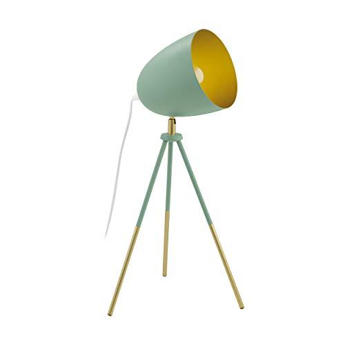 EGLO Chester-P tafellamp met driepoot, 1 vlammige vintage tafellamp, bedlampje van staal, pastel donkergroen, goud, fitting: E27, incl. schakelaar