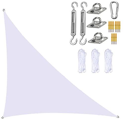 YHYL Jardín Sun Shade Sails Triangle Canopy, Triangle Sun Sail Shade con Kit De Fijación, Impermeable Y Bloque UV, para Patios Al Aire Libre Tapa De Toldos,Blanco,3m x 3m x 4.3m