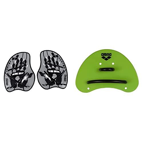 ARENA Vortex Evolution Palas de Mano para Natación, Unisex, Plata (Silver/Black), L + Trainingsgerät Elite Finger Paddle Palas De Mano para Natación, Color Verde (Acid Lime/Black), Talla Única