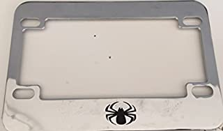 Round Spider - Chrome Motorcycle / Scooter License Plate Frame -