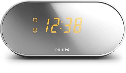 Philips AJ2000 Radio Réveil avec Radio FM, Double Alarme, Luminosité Réglable - Gris et Blanc
