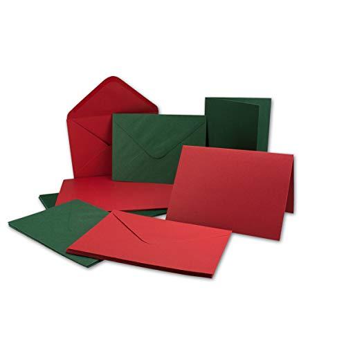 geprägtes Struktur Karten Set inklusive Briefumschläge - 50er-Set - B6 Einladungskarten und Umschläge in Rot und Grün - Gustav NEUSER C-Line