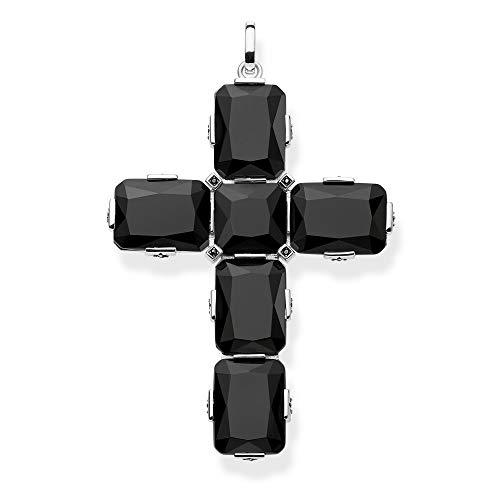 Thomas Sabo Damen-Anhänger Kreuz Schwarze Steine groß 925 Sterlingsilber PE858-641-11