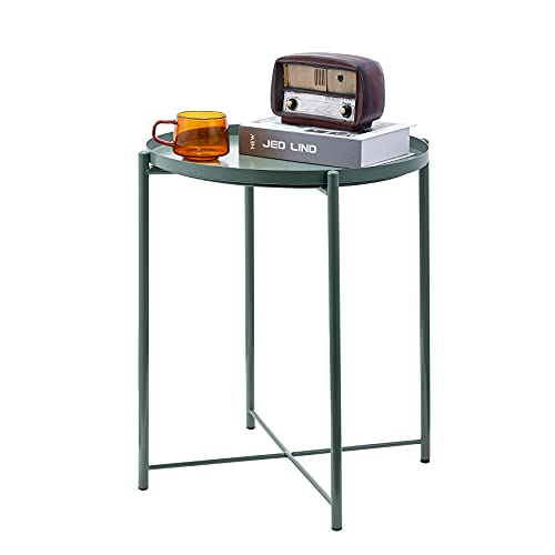 LeChamp Modern Metal End Table Round Removable Tray for Outdoor & Indoor Detachable Anti-Rust and Waterproof Tray Small Sofa Side Table for Living Room, Hallway, Bedroom, Garden, Balcony Green