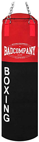 Bad Company Boxsack Deluxe inkl. Heavy Duty Stahlkette I Canvas Punching Bag, ungefüllt I 100 x 30 cm - Schwarz/Rot