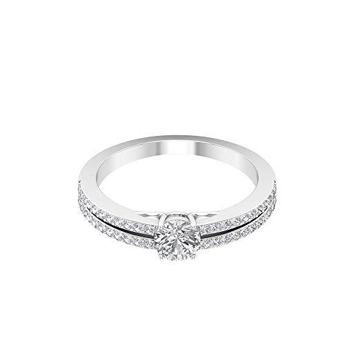 Anillo de boda de oro de moissanita certificado de 0,77 ct, DE-VS1 con claridad de color, anillo de piedras preciosas clásico para mujer, 14K Oro blanco, Moissanita, Size:EU 62