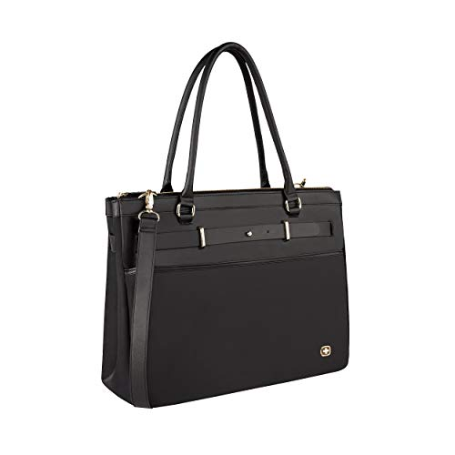 Wenger 605496 ZOE 16' Women's Business Tote Bag, Padded laptop compartment with Expandable Main Compartment in Black {14 Litres}