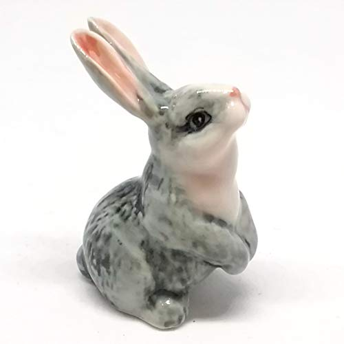 ZOOCRAFT Porcelain Rabbit Bunny Figurine Gray Hand Painted Ceramic Miniature Collectible