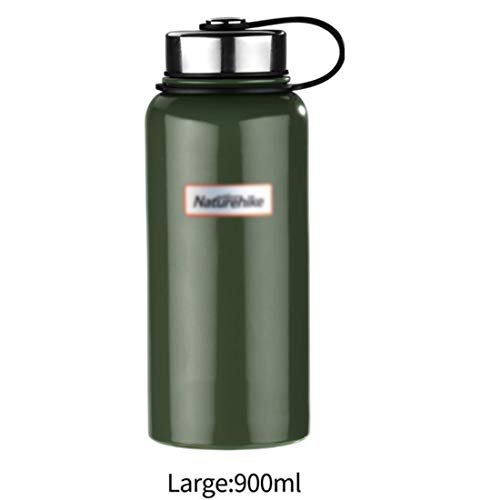 LNLW Thermosflessen Mok Thermosflessen en zweetvast grote capaciteit RVS Sports Cup/zwart (Color : Green, Size : 900ML)