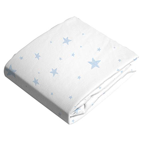Change Pad Cover with Slits for Safety Straps Flannel Blue Scribble Stars