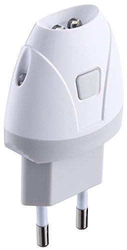 Electraline 58303 Torcia d'Emergenza Automatica con Funzione Luce di Cortesia, LED, Bianco