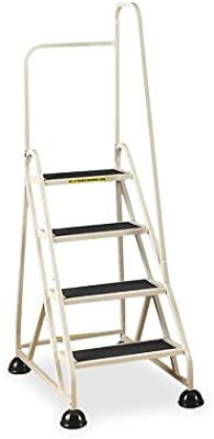 Cramer 1041R-19 Stop-Step Ladder 4 Steps with Right Handrail 36-inch High Top Step, Beige
