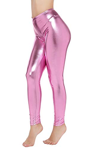 PINKPHOENIXFLY Womens Sexy Shiny Faux Leather Leggings Pants (L, Baby Pink)