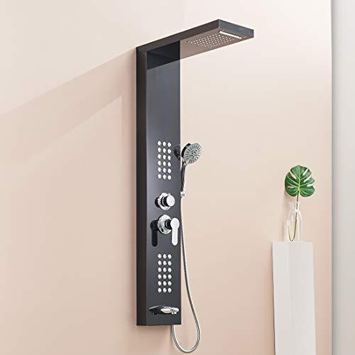 QD Duscharmaturen Schwarz Regendusche Duscharmatur Set Duschsysteme Badewanne Wasserfall-Duschwand aus Edelstahl Duschpaneel