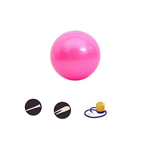 DAZISEN Accesorios Gimnasio - Pelota Yoga Gimnasia con Bomba Adecuada para Hombres y Mujeres, Rosa-2, 55CM