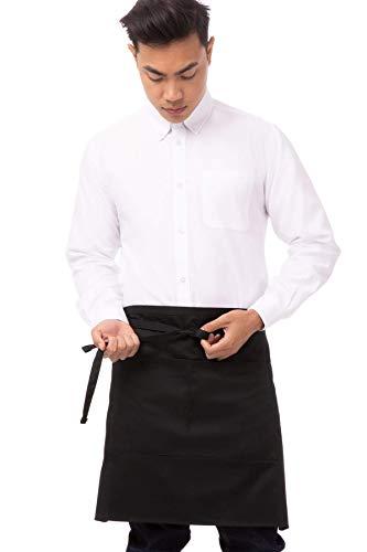 Chef Works Half Bistro Apron, Black, 19-Inch Length by 27.5-Inch Width