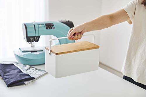 山崎実業(Yamazaki)裁縫箱ホワイト約W27XD14XH13.5cmタワー可動式トレー取っ手付き5060