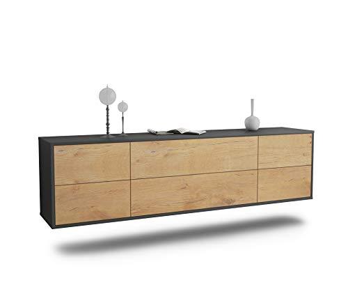 Dekati Lowboard Saint Paul hängend (180x49x35cm) Korpus anthrazit matt | Front Holz-Design Eiche | Push-to-Open