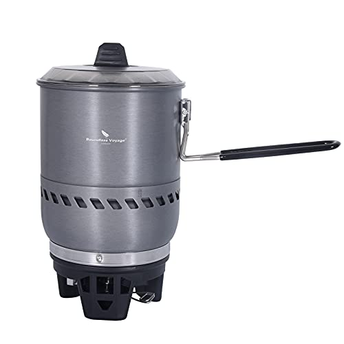 iBasingo 1.6L Camping Intercambiador de Calor Pot con Sistema de Cocción a Prueba de Viento Ligero Aleación de Aluminio Utensilios de Cocina Set al Aire Libre Ciclismo Picnic Gas Reactor Cocina