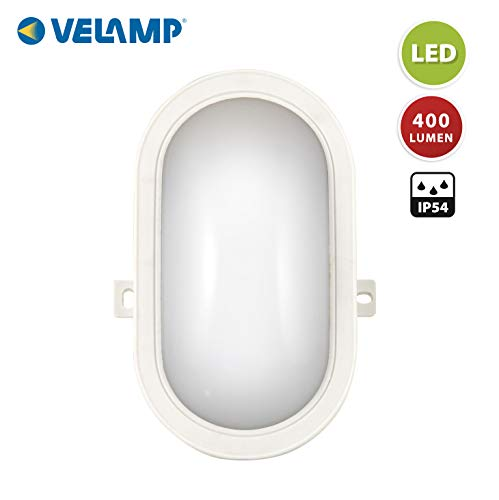 VELAMP Tartaruga_B Applique/Plafoniera LED Ovale Super Luminosa: 450 Lumen (5W). Installazione Facile. per Interno o Esterno (IP65). Luce Naturale 4000K 5.5 W, Bianco, 11.8x4.8x6.5 cm