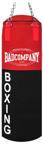 Bad Company Boxsack Deluxe inkl. Heavy Duty Stahlkette I Canvas Punching Bag, ungefüllt I 80 x 30 cm - Schwarz/Rot