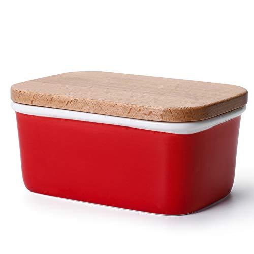Sweese 301.104 Butterdose Porzellan mit Holzdeckel, für 250 g Butter, Groß, Rot