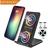 Zeekoo Fast Wireless Charger,Qi Fast Wireless Charging Pad Stand with Cooling Fan for Samsung Galaxy Note 8 S8 S8 Plus S7 S7 Edge Note 5 S6 Plus and for iPhone X iPhone 8 iPhone 8 Plus (Red)