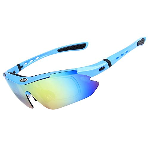 OPEL-R Gafas Ciclismo Motocross Anti-UV400 Gafas De Sol Polarizadas 5 Lentes para MTB Correr, Pescar, Conducir, Deportes Al Aire Libre,Fluorescent Blue