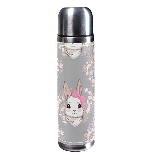 TIZORAX süßer Kaninchen mit Schleife Skizze 500 ml Reisebecher Kaffeetassen Wasserflasche Vakuum Leder Isolierbecher 304 Edelstahl