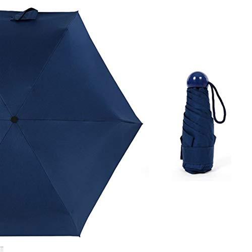 N\A Paraguas de Viaje contra los Rayos UV de Bolsillo pequeño de los niños Paraguas Paraguas Mini Mujeres Paraguas Plegable Lluvia Mujeres Sun Parasol (Color : Navy Blue)