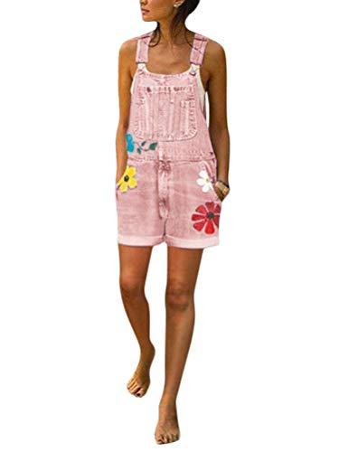 Tomwell Jeanslatzhose Damen Latzhose Jeans Hose Vintage Loose fit Jumpsuit Overall Blumen Denim Playsuit Romper A Rosa 40