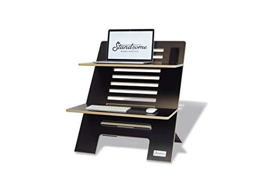 Standsome Double Black - Supporto da scrivania regolabile in altezza con due livelli, seduta ergonomica sostenibile, posto di lavoro in legno nero