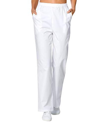 CLINIC DRESS Hose Damen-Hose mit Gummibund, 2 Seitentaschen, Wide Cut, 100% Baumwolle, 95° Wäsche weiß 40