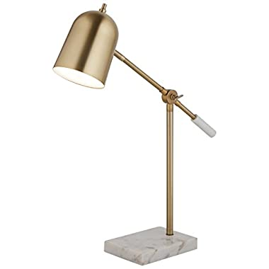 Rivet Avery Marble and Brass LED Table Lamp, 22.5  H