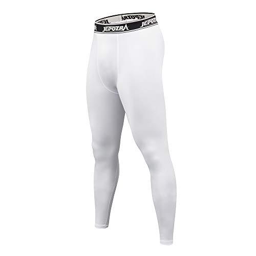 Legging Sport Homme Collant Running Fitness Pantalon de Compression Sport Pantalons pour Running Jogging Cyclisme Course (XL, Blanc)