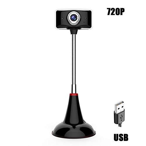 QLPP 720P HD Webcam, Webcam USB con Luz LED Plug and Play,Manualmente Ajustable Longitud Focal,HD Pro Webcam con micrófono videoconferencias y grabación de vídeo