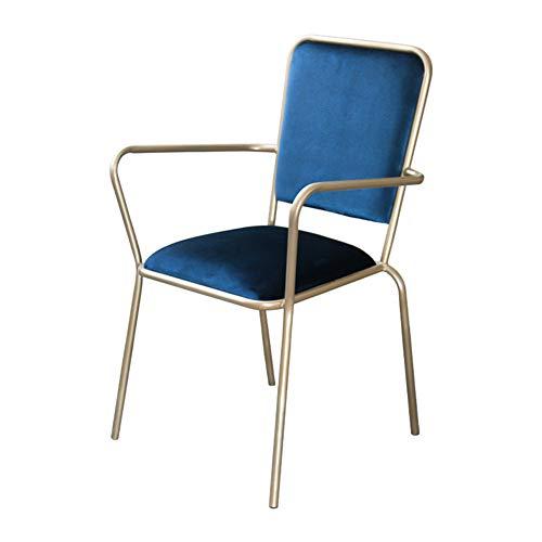 Sillón casero,Silla de sala de patas de metal, silla de madera maciza, sillas de cocina, sillón, silla de sala, sillas de ocio, silla de maquillaje, con respaldo y reposabrazos, estilo simple-Royalb