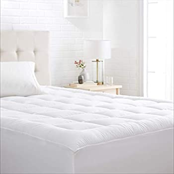Amazon Basics Down-Alternative Mattress Topper Pad with Microfiber Shell Quilted Breathable Fitted - Queen