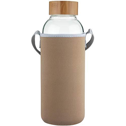 Ferexer 1500 ml Bottiglia di Acqua in Vetro Borraccia Sportiva in Vetro Borosilicato con Coperchio in bambù e Custodia in Neoprene 1.5 L / 1.5 Liter Oro