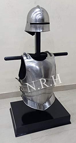 Réplica náutica casco medieval gótico sallet con placa de pecho y chaqueta muscular