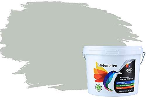RyFo Colors Seidenlatex Trend Grüntöne Graugrün 3l - bunte Innenfarbe, weitere Grün Farbtöne und Größen erhältlich, Deckkraft Klasse 1