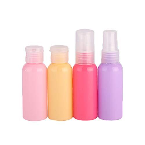 4pcs ensemble d'articles de toilette contenant 50 ml de bouteille de voyage colorée pour shampooing conditionneur lotion pour le visage pour le corps