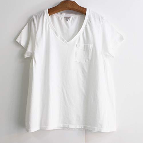 """小さなポケットが付いた""""LAURA(ローラ)""""は、首周りをすっきりと見せるVネックTシャツ。高品質な素材感ながら耐久性も◎ 1枚ではもちろんですが、薄手なのでレイヤードにも活躍してくれます。"""