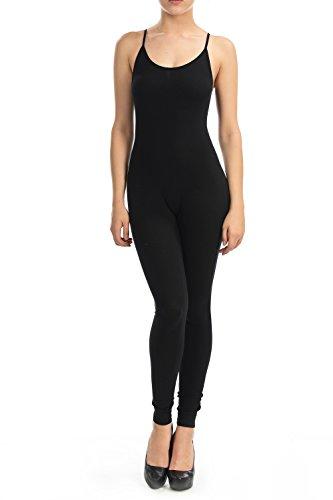 JJJ Fashion Women Catsuit Cotton Tank Spaghetti Strapped Yoga Bodysuit Jumpsuit (Large, Black2)