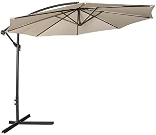 Tangkula Patio Umbrella 10ft Outdoor Sun Shade Umbrella Hanging Offset Crank W/Corss Base 8 Rips Steel Sturdy Frame Table Umbrella for Garden Pool Deck Market Umbrella (Beige)