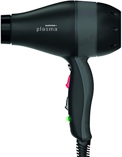 GAMMAPIU' Phon per Capelli PLASMA, Phon Professionale Potente, Attivatore Ossigeno Attivo, Asciugacapelli Professionale con Lampada UV e Generatore Ionico, Silenzioso, Colore Nero/Nero Trasparente