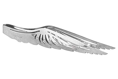 FlyCol Angel Wing Shisha Zange | Für Kohlen und Tabak | Ideal zum Kopfbau | Schischa Wasserpfeife Kohlenzange Tabakzange Kopf Zubehör XL (Silber)