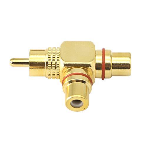 Divisor RCA, RCA macho a doble RCA hembra, 1 entrada 2 salida 90 grados en ángulo recto RCA a 2 RCA Jack Audio Video Y Splitter AV TV Adaptador Conector