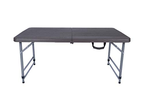 New Home Era Folding Utility Table, Wood Faux 4ft Fold-in-Half Portable Plastic Picnic Party Dining Camp Table