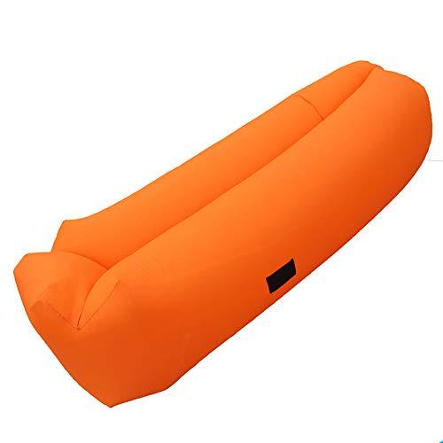 WANG2018 Aufblasbare Recliner, Portable Air Sofa, Lazy Waterproof Breathable Bed, Portable Air Cushion geeignet für Indoor-Außenwelt Freizeit Sommerwanderungen,Orange